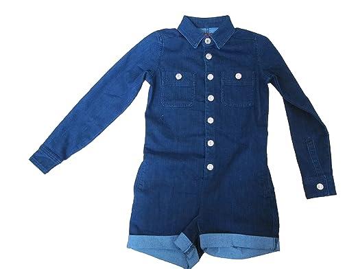 d4a270c96431 7 For All Mankind Kids Girl s Six-Pocket Stretch Denim Romper in Indigo (Big