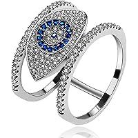 Uloveido Fashion Pave Round Cubic Zirconia Cluster Blue Evil Eye Illuminati Rings for Women Girls (Size 6 7 8 9) Y325B