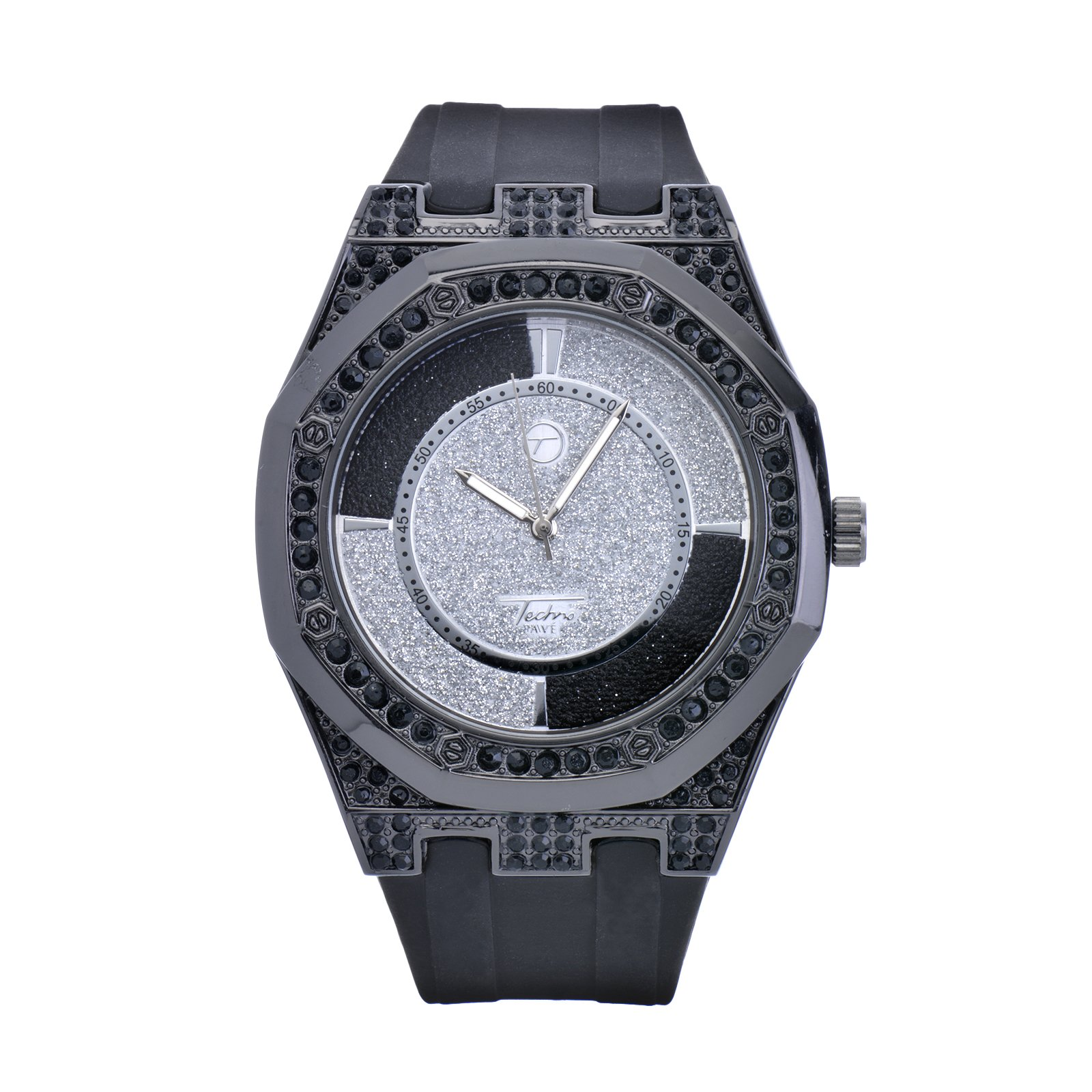 Techno Pave XL Bling Iced Out Black Silicone Band Watches WR 8154 BK