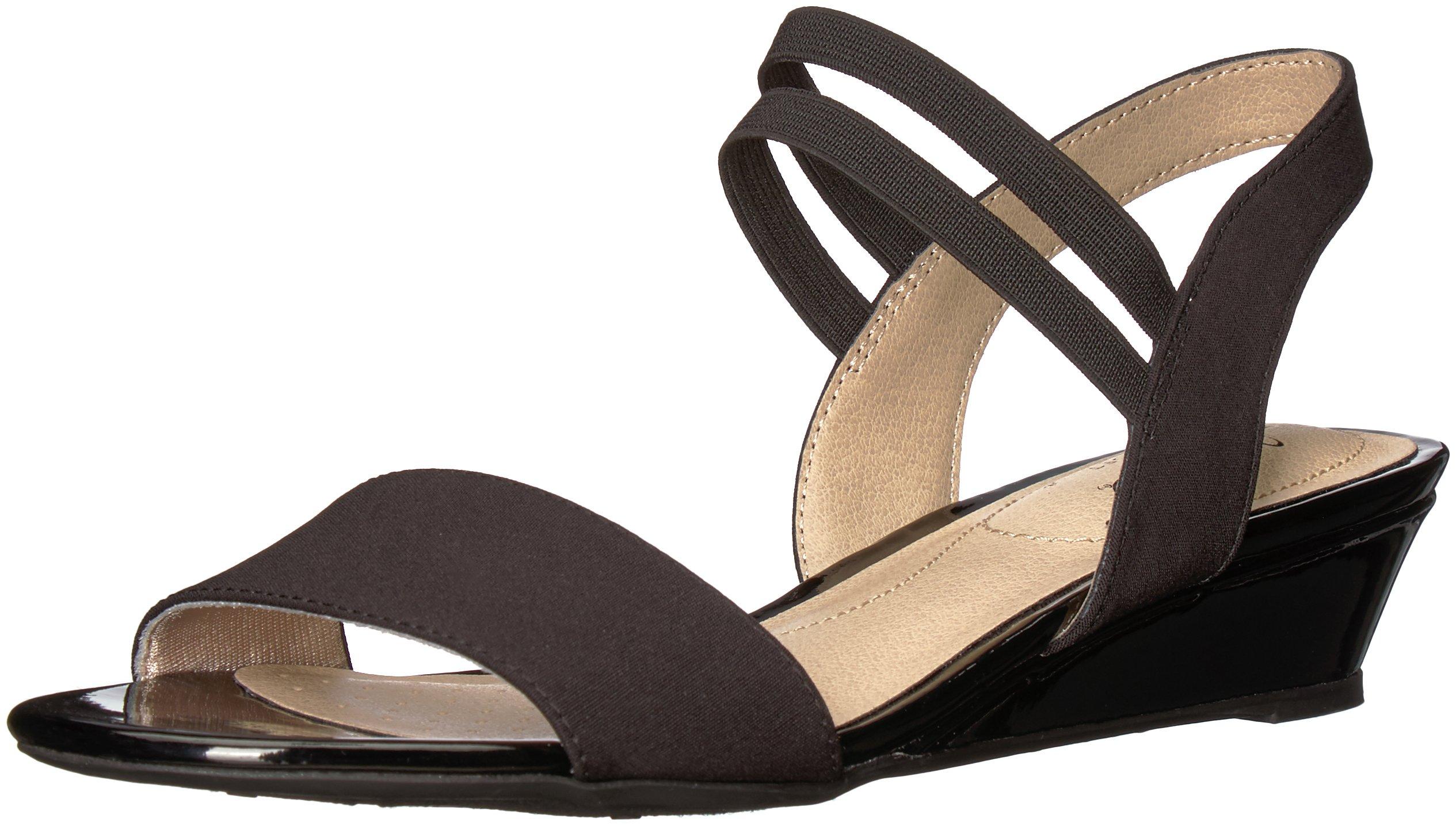 LifeStride Women's Yolo Wedge Sandal, Black, 5.5 M US