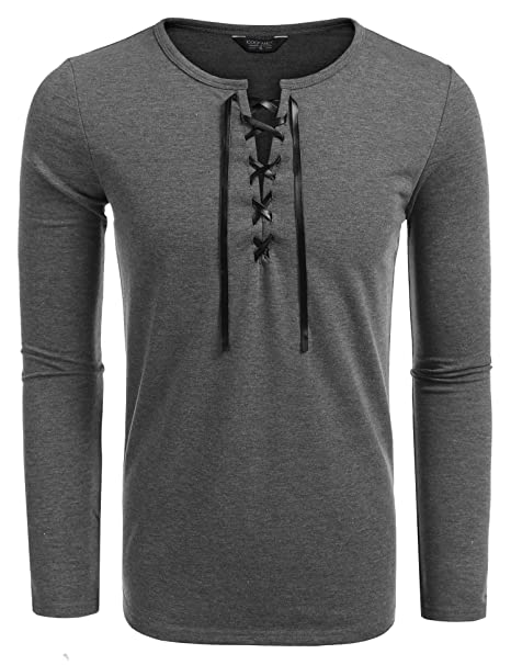 637238cfb7 COOFANDY Mens Long Sleeve Lace up Cotton T Shirts Casual Tops Tee Classic  Fit Basic Shirts