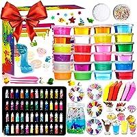 DIY Slime Fluffy Kit - 24 kleuren slijmkit voor meisjes jongens speelgoed met 48 glitterpoeder, helder slijmaccessoire…