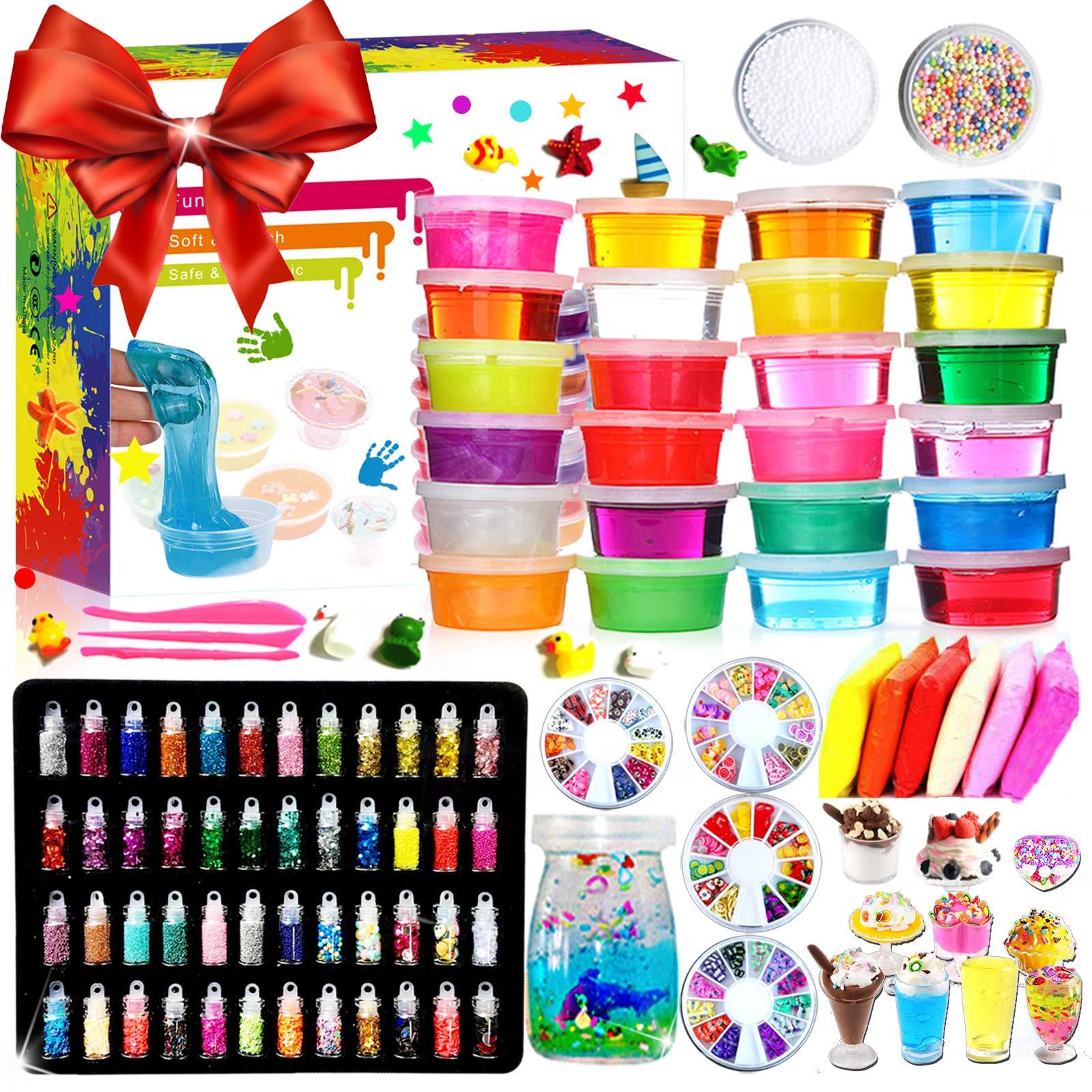 DIY Fluffy Slime Kit Crystal Slime Set for Girls Boys Toys Kids Art Craft aged 6+ (24 colors)