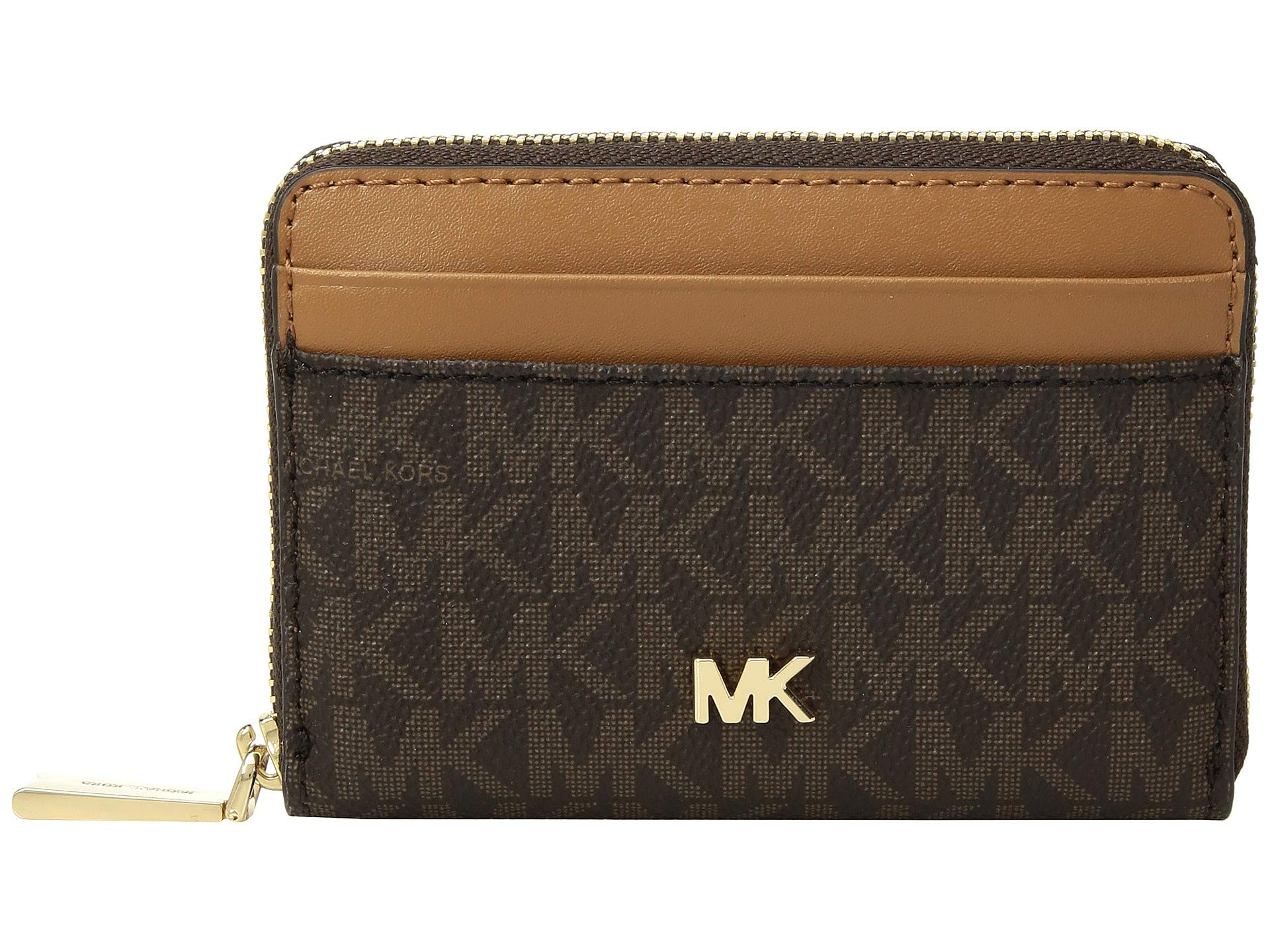 Michael Kors Signature Logo Zip Around Coin Card Case Wallet - Brown/Acorn by Michael Michael Kors