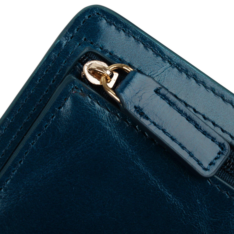 YALUXE Women's Mini Small Leather Pocket Wallet with ID Window Blue by YALUXE (Image #5)