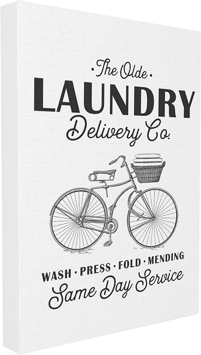 Stupell Industries Olde Laundry Delivery Co Vintage Bike Oversized Stretched Canvas Wall Art, Proudly Made in USA
