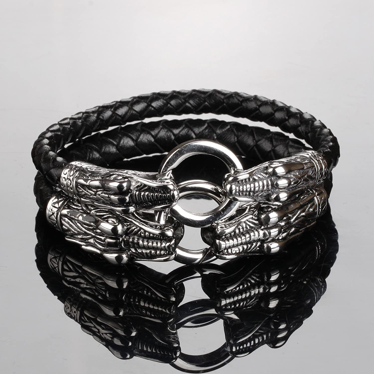 Stainless Steel Double Dragon Head Connect Ring Black Weave Genuine Leather Mens Cuff Bracelet