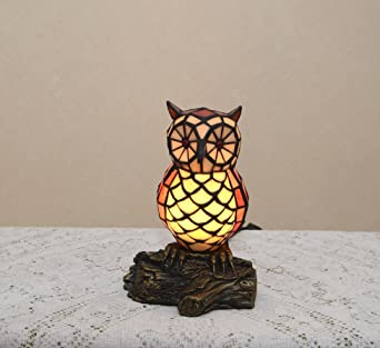 10.5u0026quot;H Stained Glass Tiffany Style Owl Night Light Table Desk Lamp.