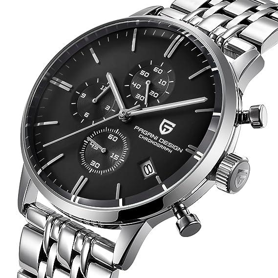 Relojes para Hombres a Prueba de Agua de Moda Reloj de Cuarzo Deportivos Clásicos Acero Inoxidable