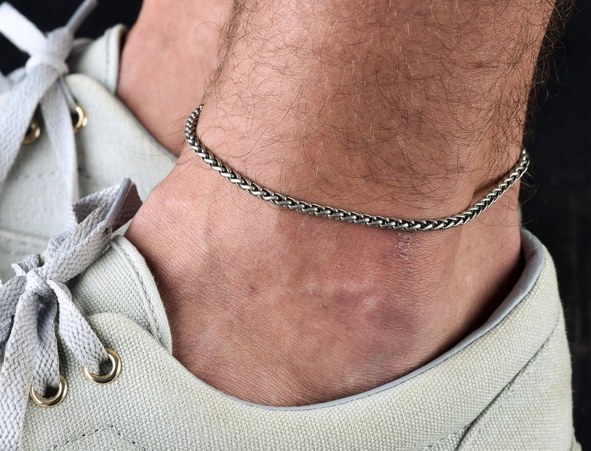 Handmade Silver Plated Anklet For Men By Galis Jewelry - Ankle Bracelet For Men - Chain Anklet For Men - Silver Anklet For Men
