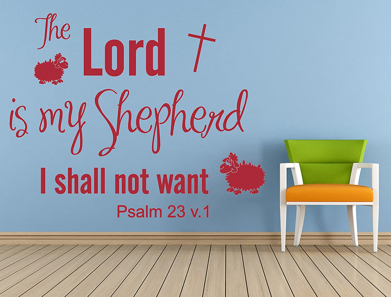Amazon.com: Psalm 23 NIV Christian Bible Verse Quote, Vinyl Wall Art ...