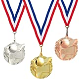 Juvale 3-Piece Award Medals Set - Volleyball Gold, Silver, Bronze Medals for Sports, Games, Competitions, Party Favors, 2.4 I