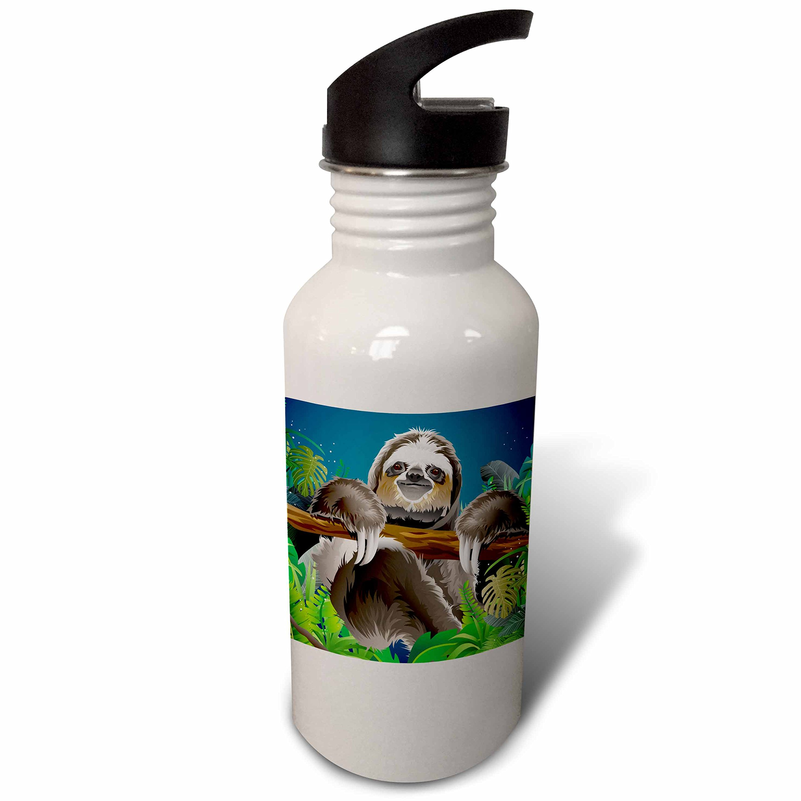 3dRose Sven Herkenrath Animal - A Cute Illustration of a Sloth Chilling on a Tree - Flip Straw 21oz Water Bottle (wb_281661_2)
