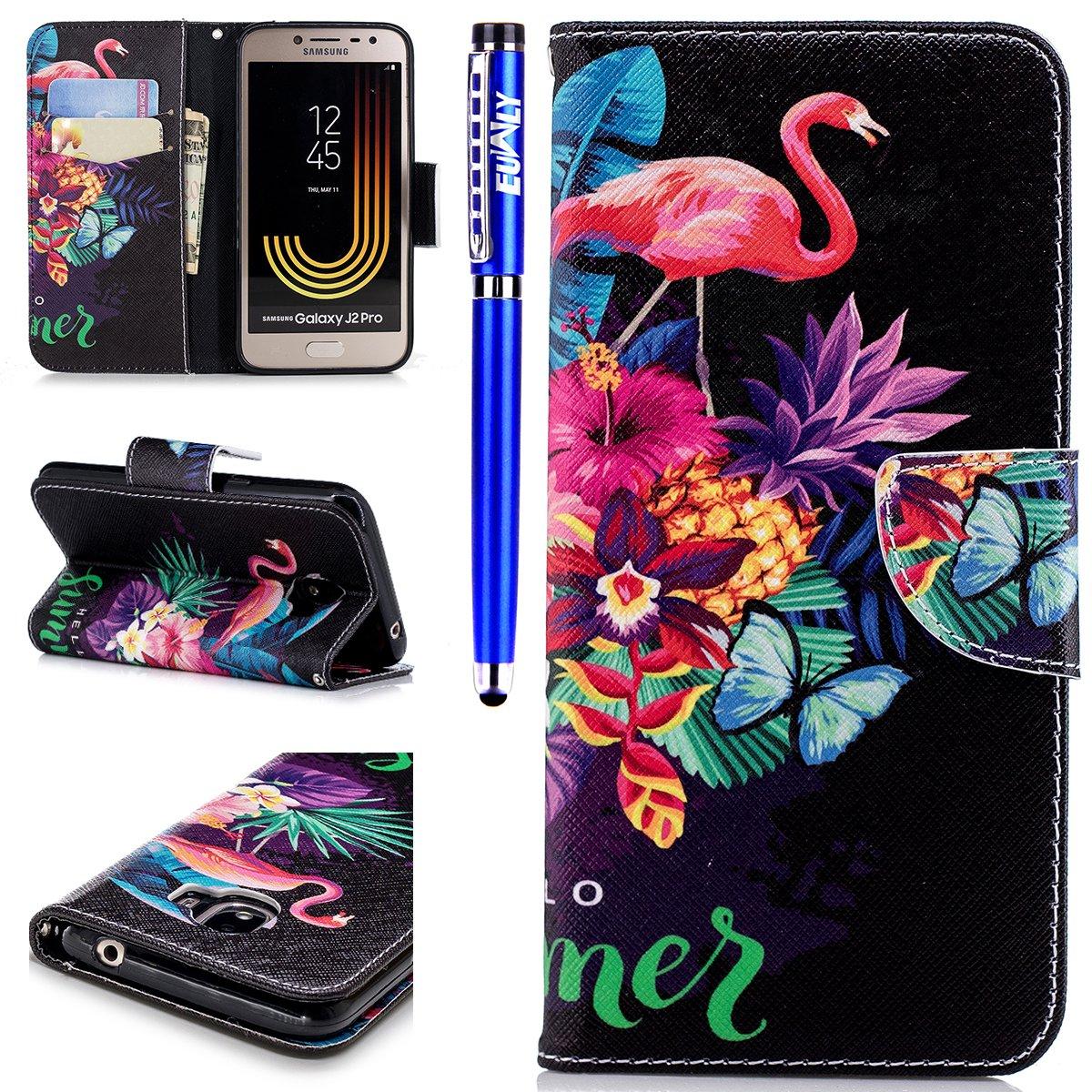 EUWLY Lederhülle Samsung Galaxy J2 Pro 2018 Ledertasche Handytasche Tasche Wallet Hülle im Bookstyle Handyhülle Bunte PU Leder Flip Tasche Case Brieftasche Schutzhülle Kartenfächer,Flamingo Butterfly
