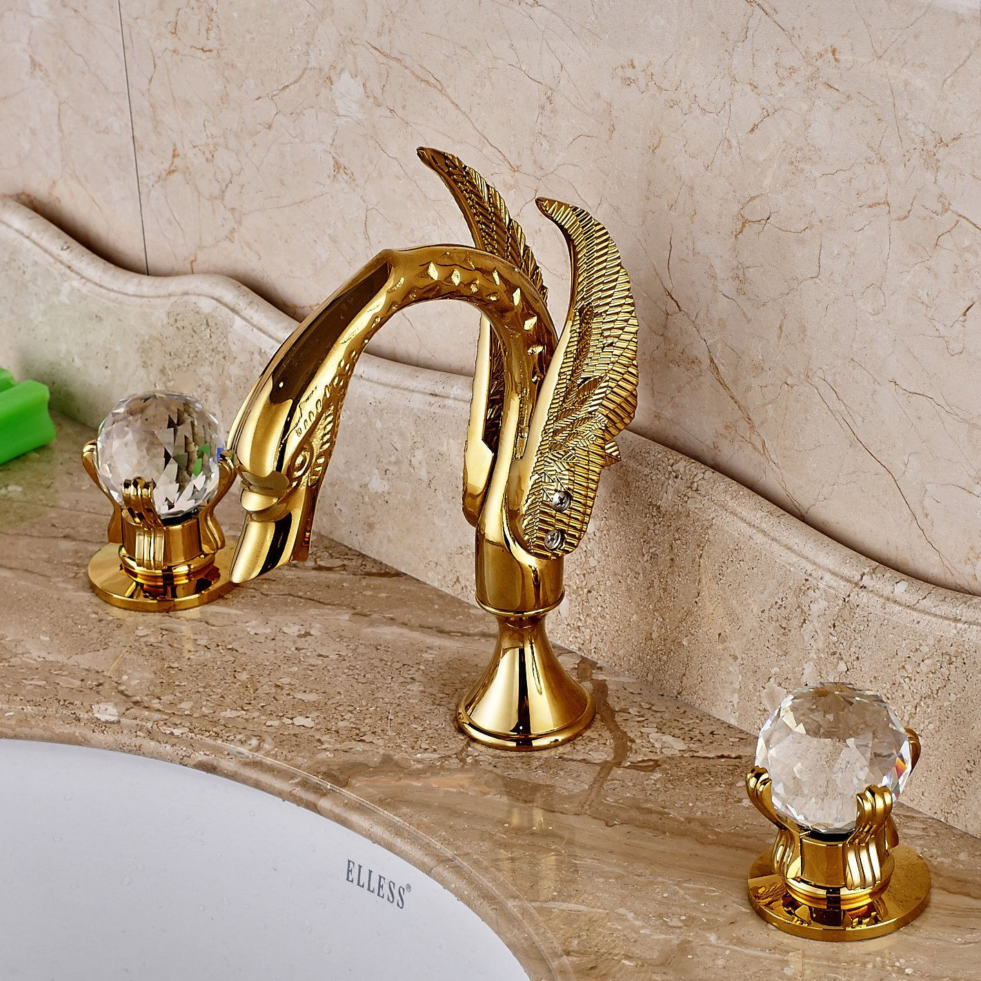 Rozin Double Crystal Knobs Basin Faucet Widepspread 3 Holes Sink Mixer Tap Gold Finish