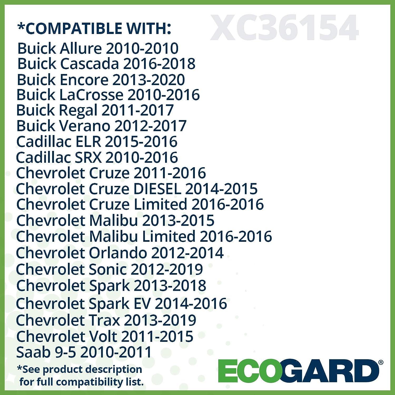 ECOGARD XC36154 Premium Cabin Air Filter Fits Buick Encore 2013-2020 Cascada 2016-2018 Regal 2011-2017 Allure 2010 LaCrosse 2010-2016 Cadillac SRX 2010-2016 Verano 2012-2017