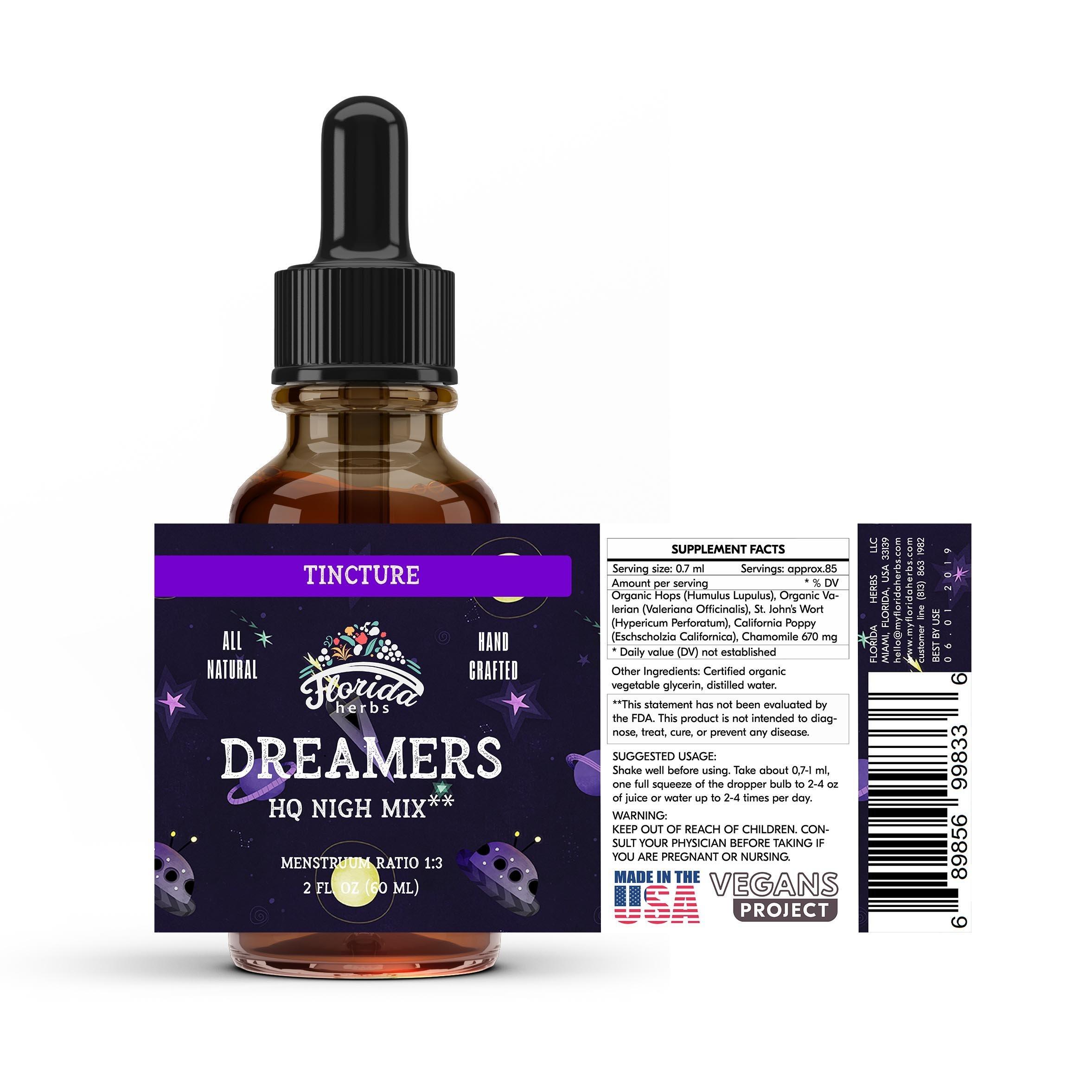 Dream Care Tincture (Organic Hops, Organic Valeriana) Sleep Nighttime Extract by Florida Herbs (Image #2)