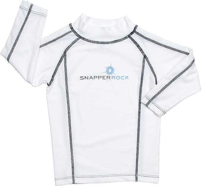 2bbe0aa20 Snapper Rock camiseta baño UV manga larga niños - Blanco Pespunte Azul  Marino  Amazon.es  Deportes y aire libre