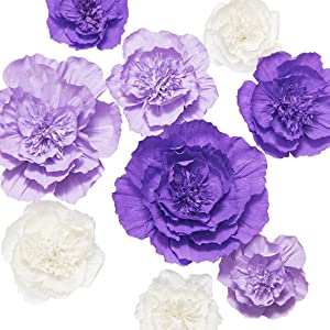Ling's moment Paper Flower Decorations, Set of 9, Giant Crepe Paper Flowers, Handcrafted Purple & Cream Flowers for Wall, Wedding, Nursery, Bridal Shower, Photo Backdrop, Centerpiece