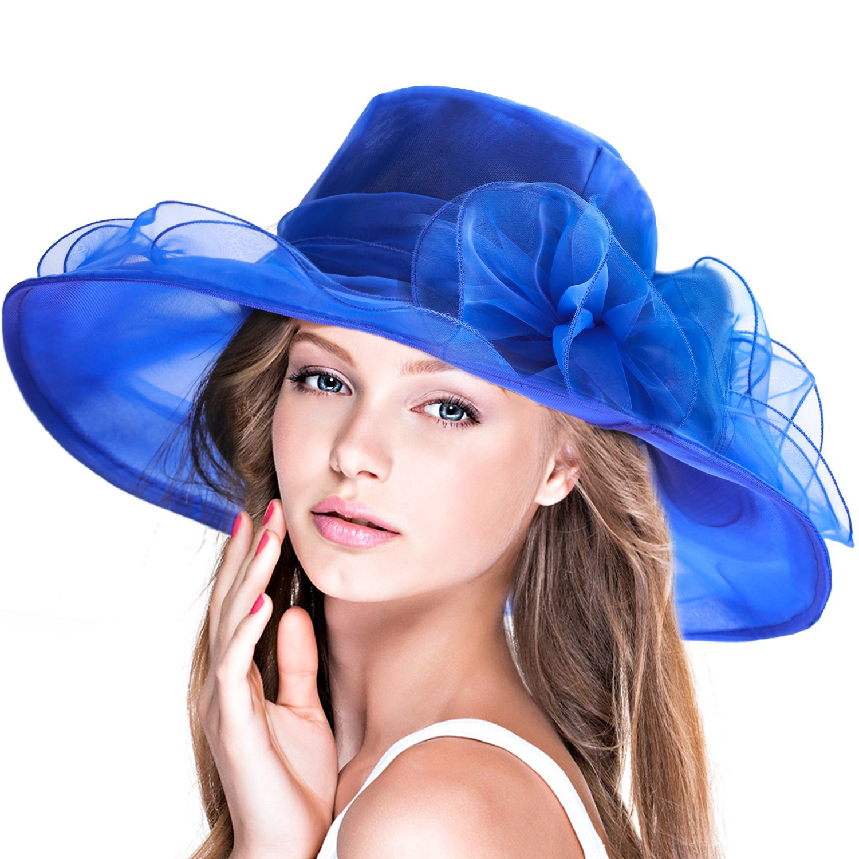 DAFUNNA Church Hat Wide Brim Organza Foldable Derby Ascot Sun Hat for Women Summer Beach Tea Party Wedding Cocktail YF-02002