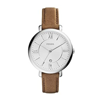 0e889a5b1 Fossil Women's Jacqueline Quartz Stainless Steel and Leather Casual Watch,  Color: Silver-Tone