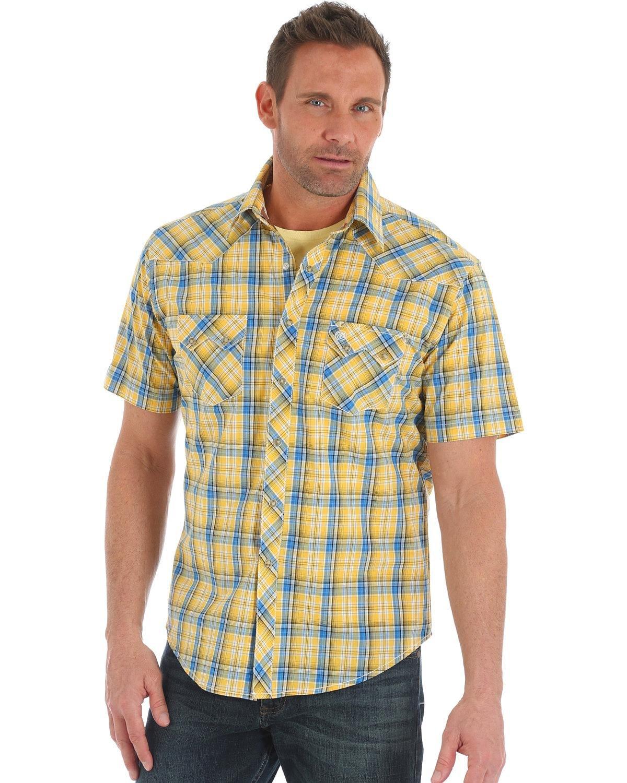 Wrangler Men's Tough Enough to Wear Pink Button Front Shirt, Yellow/Blue, L