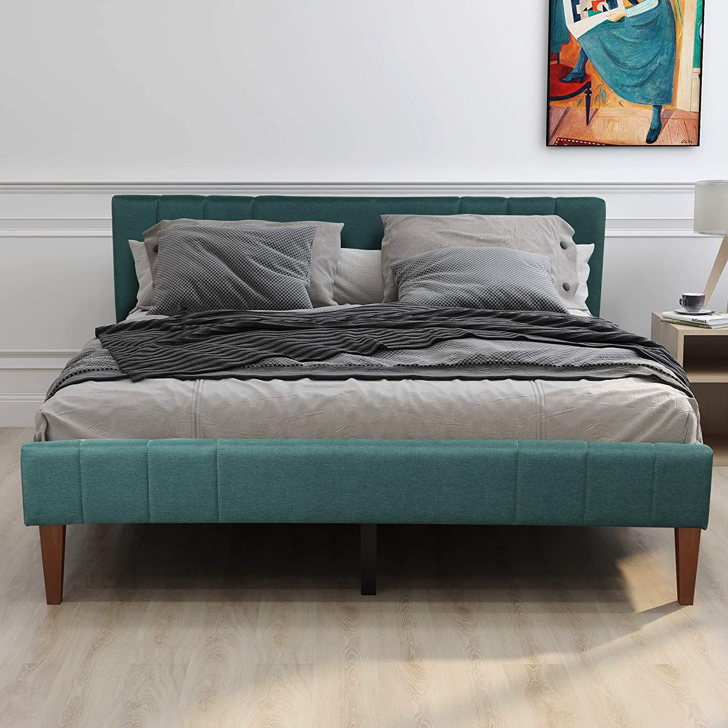 King Bed Frame, Merax Upholstered Platform Bed with Headboard, No Box Spring Needed, King Size, Green