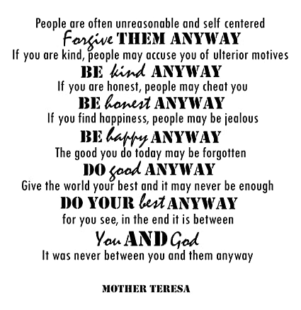 Amazon Mother Teresa Quotes Inspirational Wall Decals Vinyl Inspiration Famous Quotes About Mothers