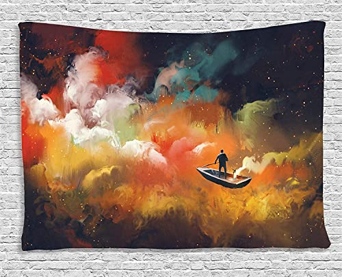 Ambesonne Fantasy Tapestry, Man on a Boat Floating Within Nebula Cloud in Vivid Colorful Psychedelic Background, Wide Wall Hanging for Bedroom Living Room Dorm, 60 X 40 , Night Blue