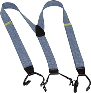 """product image for Holdup Suspender Company 1 1/2"""" Wide Dual Clip Double-Up style Dressy Y-back Suspenders in Blue Denim color and patented black no-slip clips"""