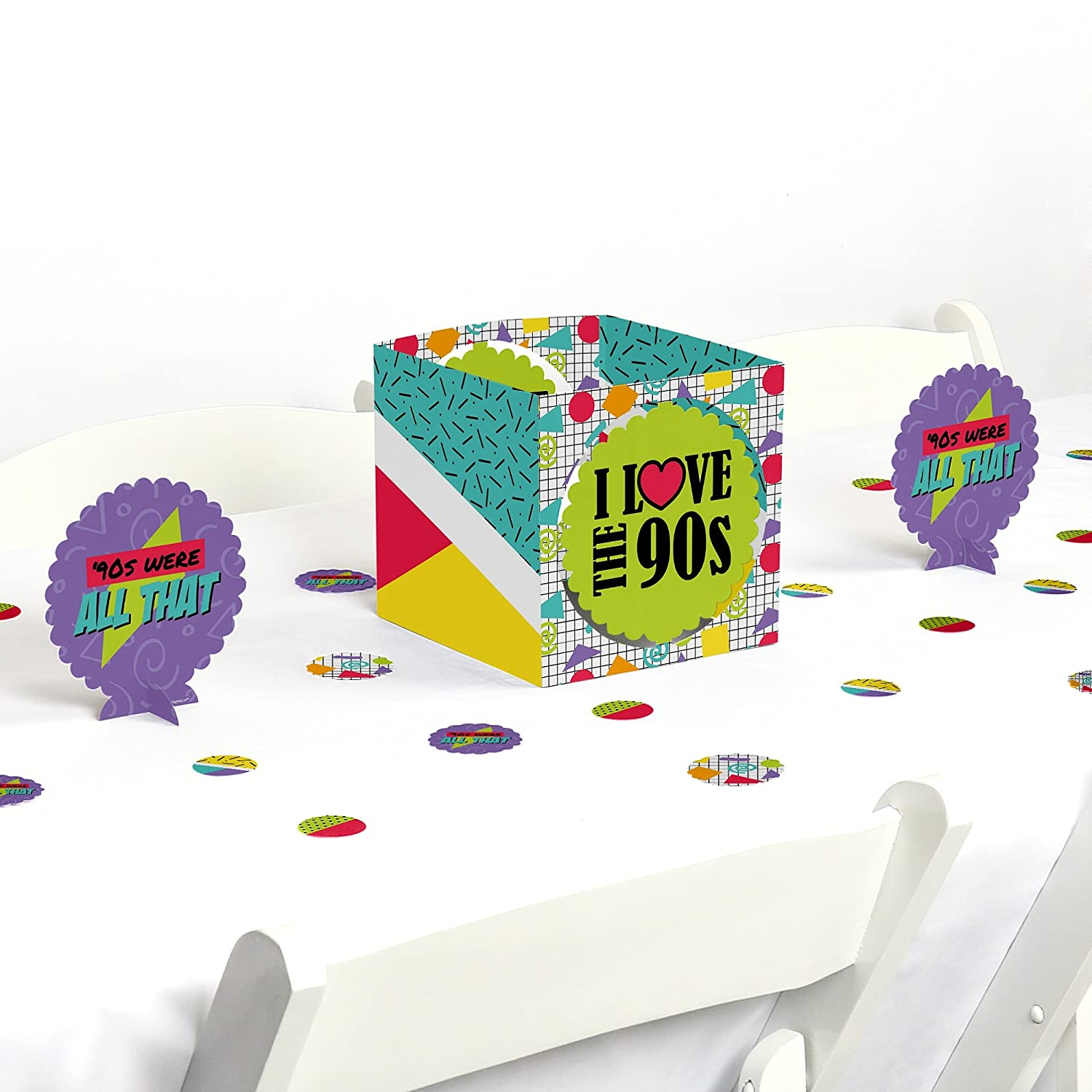 Big Dot of Happiness 90's Throwback - 1990s Party Centerpiece & Table Decoration Kit