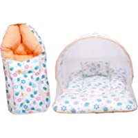 Baby Fly Baby Mattress with Mosquito Net and Sleeping Bag Combo (Multicolour, 0-8 Months)