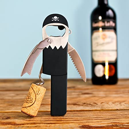 SUCK UK Sacacorchos De Vino | Abridor Manual Diseño Pirata | Abre Botellas Cocina, Acero Inoxidable, Negro