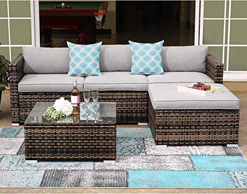COSIEST 5-Piece Outdoor Furniture All-Weather Mottlewood Brown Wicker Sectional Sofa w Warm Gray Thick Cushion