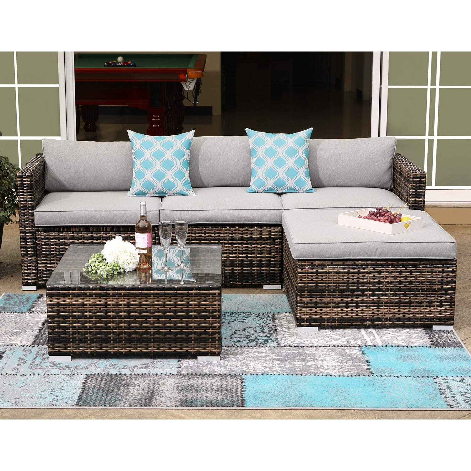 COSIEST 5-Piece Outdoor Furniture All-Weather Mottlewood Brown Wicker Sectional Sofa w Warm Gray Thick Cushions, Glass-Top Coffee Table, 2 Teal Pattern Pillows Incl. Waterproof Cover, Clips by COSIEST