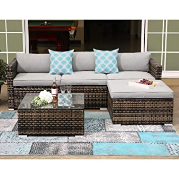 COSIEST 5-Piece Outdoor Furniture All-Weather Mottlewood Brown Wicker Sectional Sofa w Warm Gray Thick Cushions, Glass-Top Coffee Table, 2 Teal ...