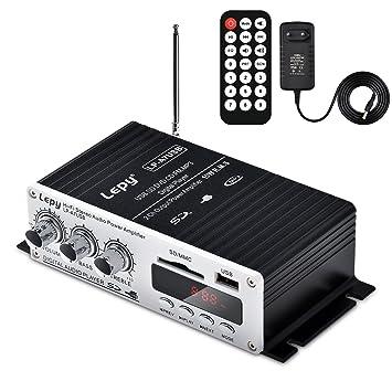 ONEU Mini amplificador audio digital estéreo HiFi Amplificador FM Radio 2 Canal 2 x 15 W