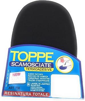 MAS New Toppe Scamosciate Termoadesive 2pezzi 10,5cm X16cm 50/% Nylon 50/% PU 01nero