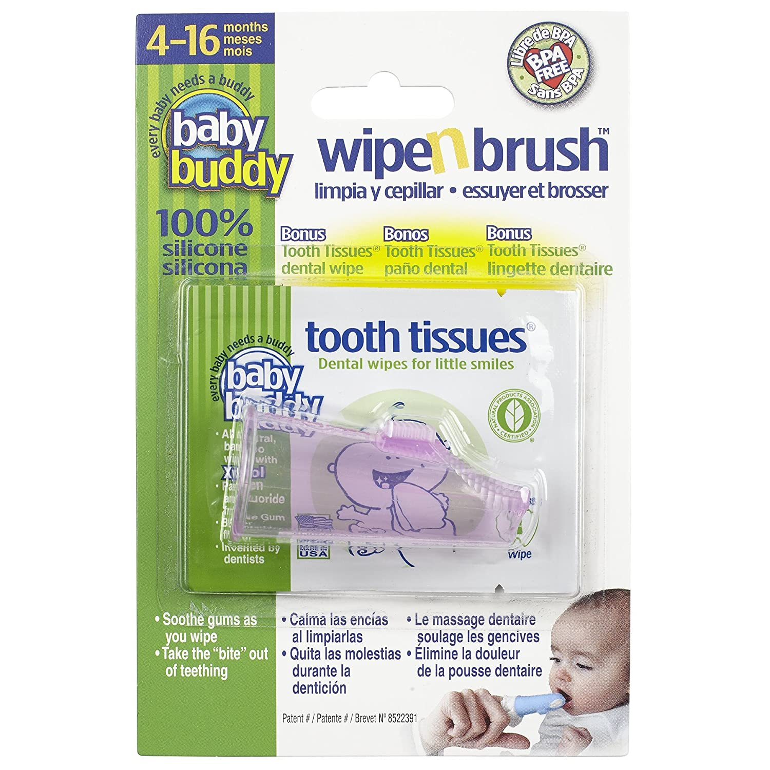 Baby Buddy Wipe N Brush Silicone Toothbrush and Dental Wipe Assistant, Pink 00585P