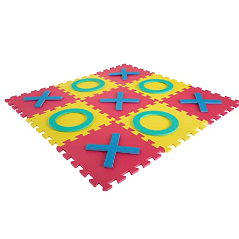 9e0ce1440 Hey! Play! Giant Classic Tic Tac Toe Game – Oversized Interlocking Coloful  EVA Foam Squares with Jumbo X and O Pieces for Indoor and Outdoor Play
