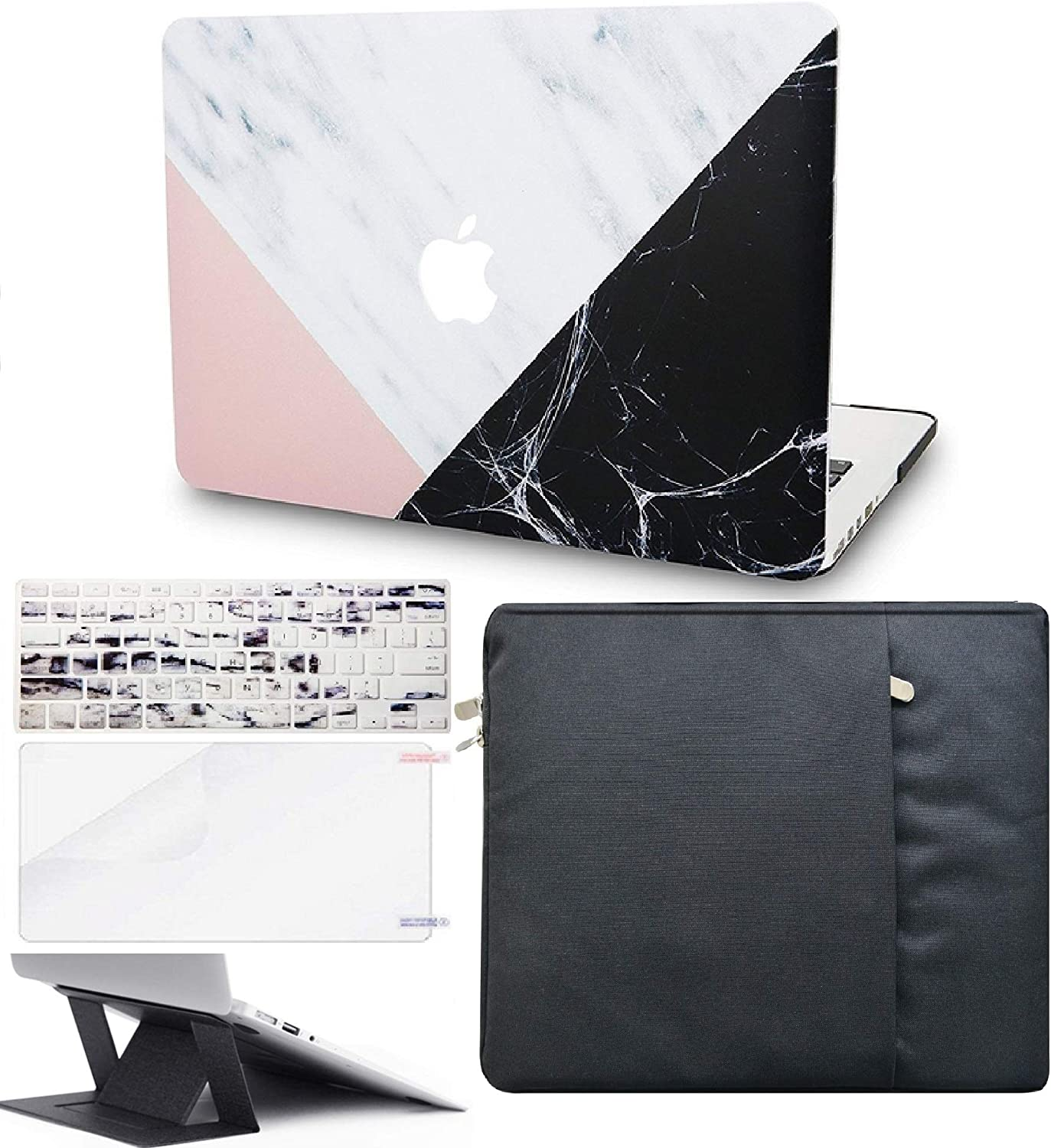 """KECC Laptop Case for MacBook Pro 15"""" (2019/2018/2017/2016) w/Keyboard Cover + Sleeve + Screen Protector + Laptop Stand (5 in 1 Bundle) Plastic Hard Shell Case A1990/A1707 (White Marble Pink Black)"""
