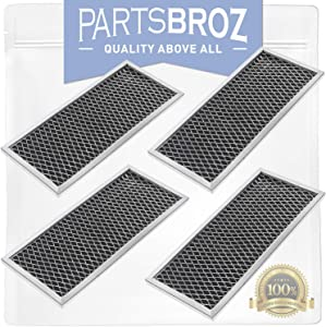 WB02X10956 (Pack of 4) Charcoal Filters for Whirlpool Microwaves by PartsBroz - Replaces Part Numbers AP3204832, 1057486, AH951943, EA951943, JX81H, PS951943