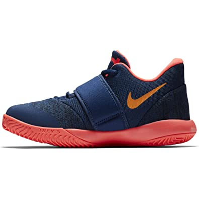 Nike Boys Preschool KD Trey 5 VI Basketball Shoes, Blue Void/Orange Peel-Flash Crimson, 3Y