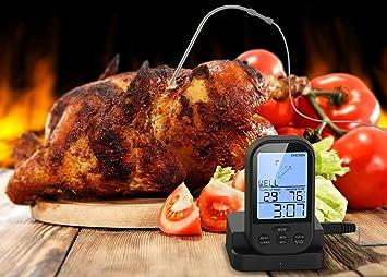 ... cocina digital alimentos carne termómetro lectura instantánea Super rápido lectura termómetro con gran pantalla LCD y alarma temporizador para barbacoa: ...