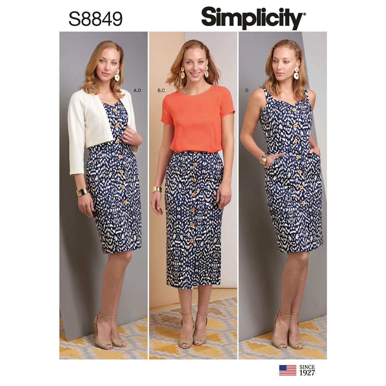 Simplicity US8849U5 S8849 - Patrones de costura para vestido de ...