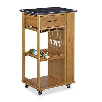 relaxdays 10020312 carrello per cucina in legno di bamb con ripiano in marmo nero