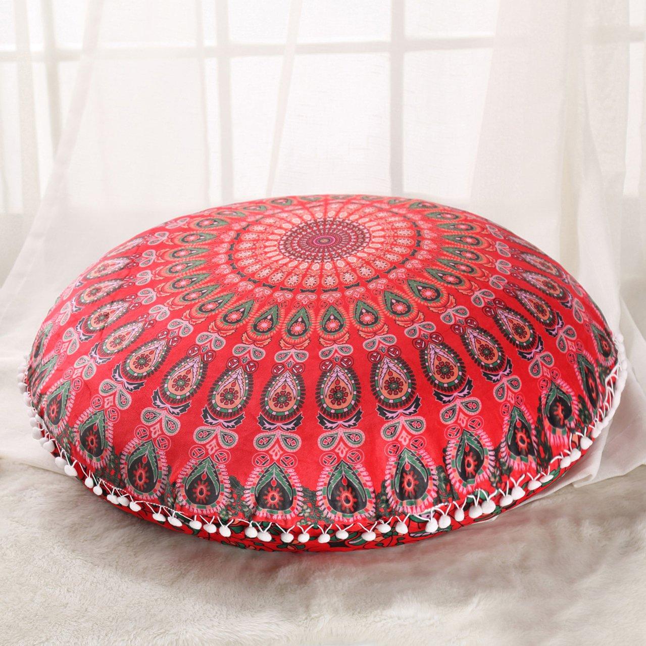 Sleepwish Large 30'' Round Pillow Cover Boho Mandala Floor Cushion Zen Meditation Pillow Case Outdoor Pom Pom Pillow Sham (Girly Red)