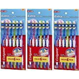 Colgate Extra Clean Full Head Toothbrush jwQorC, 3Pack (6 Count), Soft