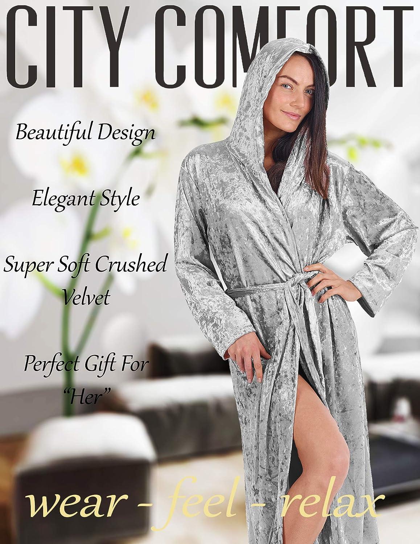 CityComfort Luxurious Hooded Dressing Gown for Women Crushed Velvet Long Housecoat Sleepwear Gifts for Ladies Elegant Lingerie