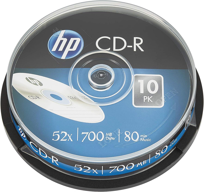 HP CD-R 52x Blank Discs (80 Minutes/700 MB) - 10 Disc Cake Box